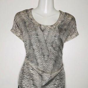 CABi animal print V shape neckline 100% silk Top
